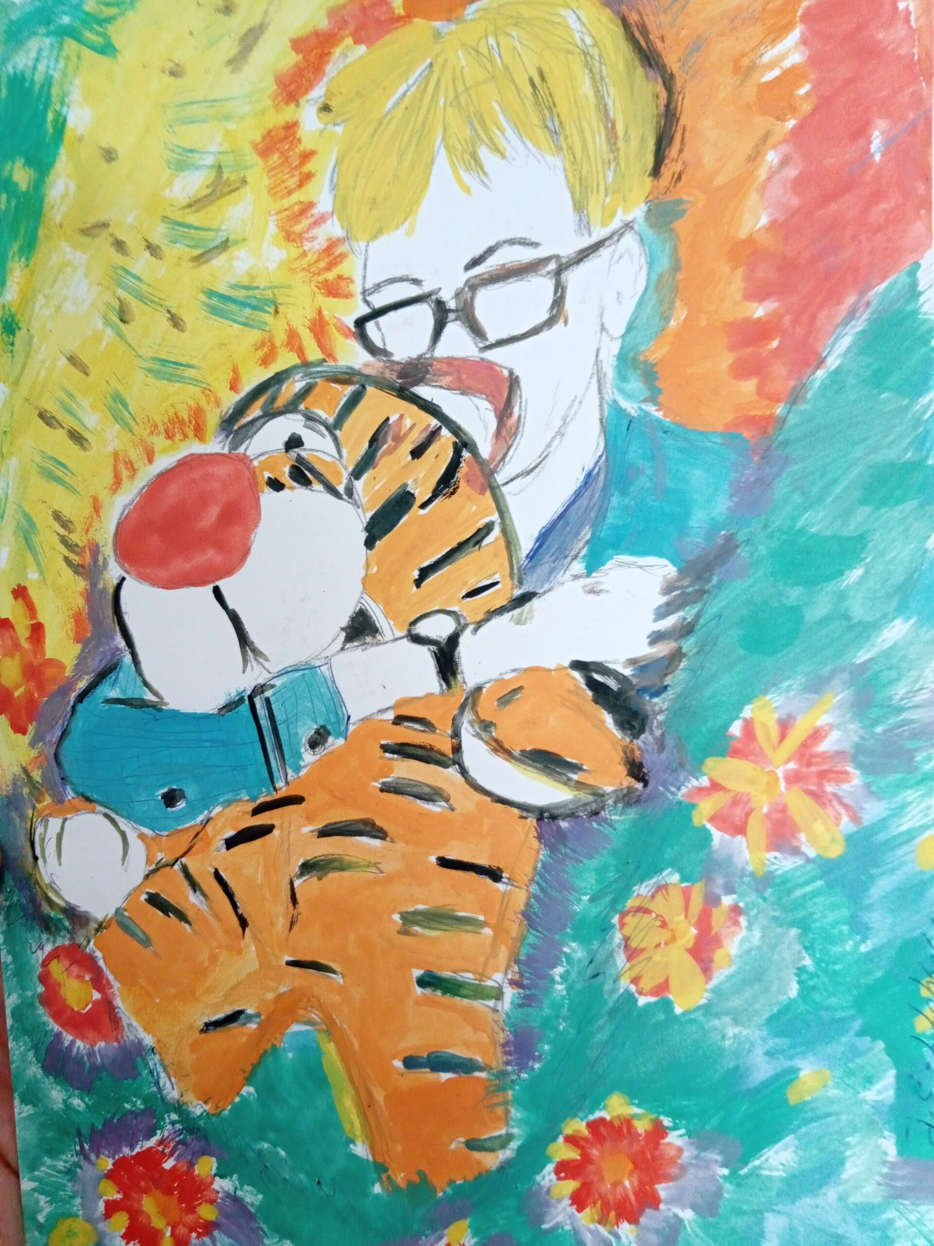 Painting of Jorik with tiger, in watercolour, by Jack Leto