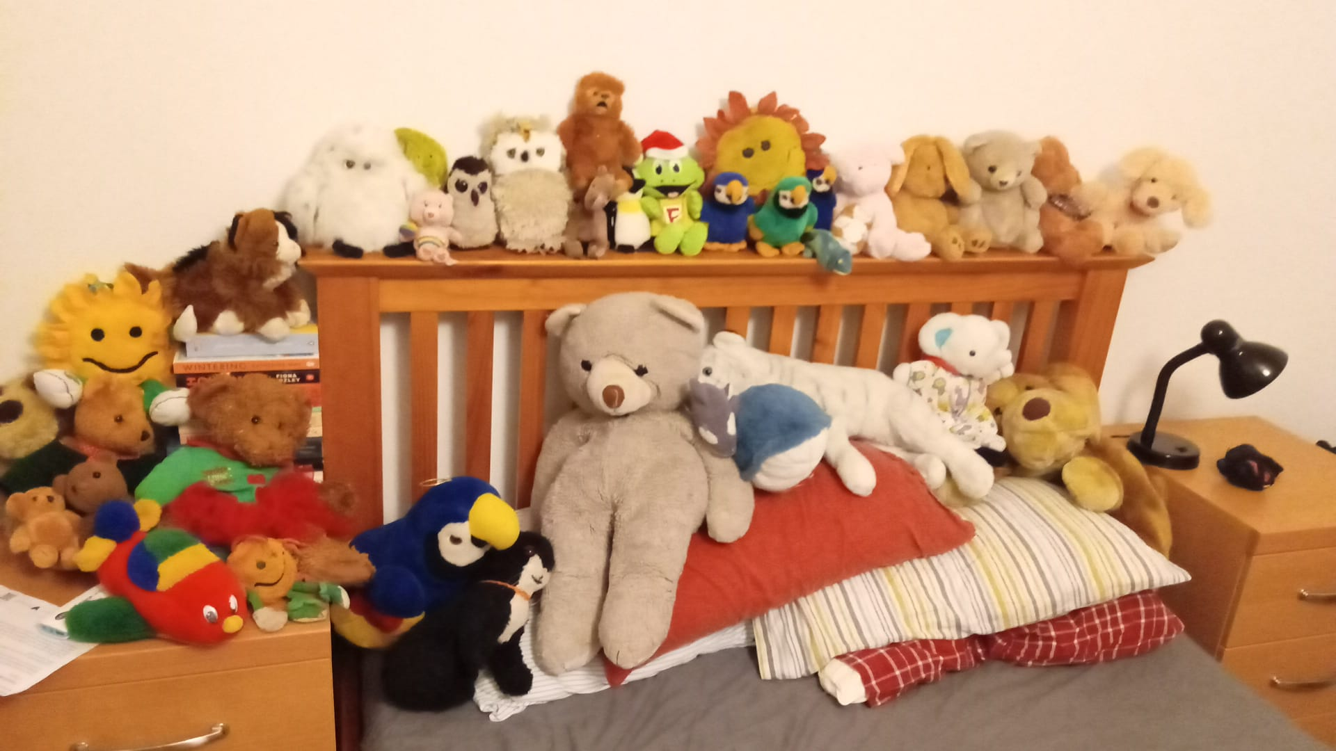 An image showing the front end of Jorik's bed, with a variety of cuddly toys along the headboard and on top of the pillows. It looks pretty dang comfortable.